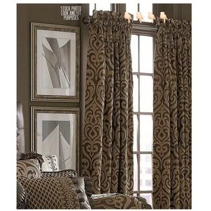 J Queen Lined Drapery Window Pole Top Pair Panels